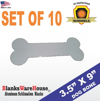 "3.5 x 9"" DOG BONE Sign .025 Gauge - White (10 pieces)"