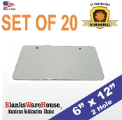 "License Plate - 2 HOLE  6"" x 12""   White (20 pieces)"