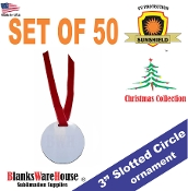 "3"" Round Ornament with SLOT  - SINGLE SIDED - 50 pc"