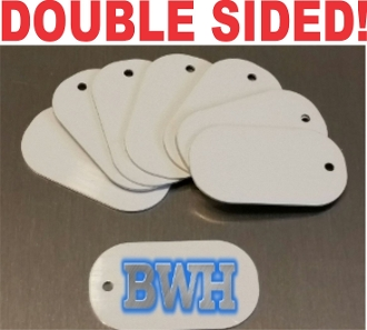 "1-1/8"" x 2""  Dog Tags - DOUBLE SIDED white 50 pieces"