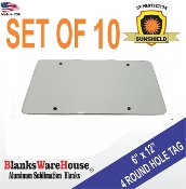 "License Plate - 4 ROUND HOLE  6"" x 12""  - 10 pieces"